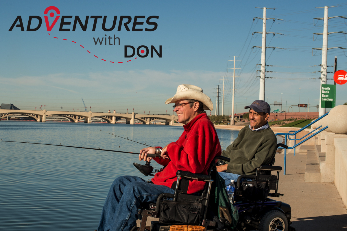 Adventures with Don. Don and buddy Gene Heppard enjoy a day of fishing at Tempe Town Lake.