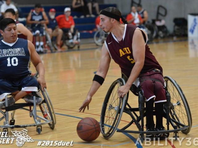 ASU and Arizona  players compete for the basketball