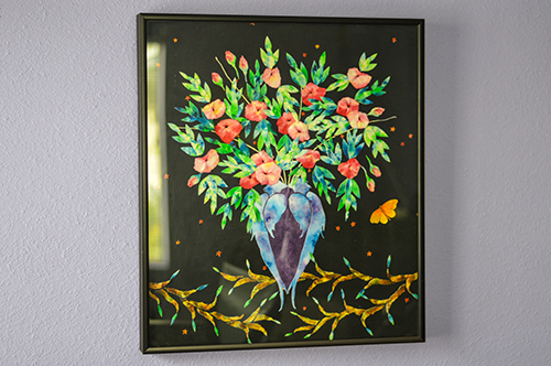 Kappas' artwork hangs in her home, a reminder of  the days before her chemical sensitivity ended her painting career.