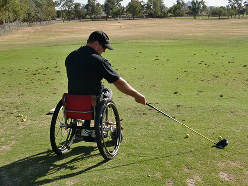 Corbin Beu plays competitive golf from a manual wheelchair.