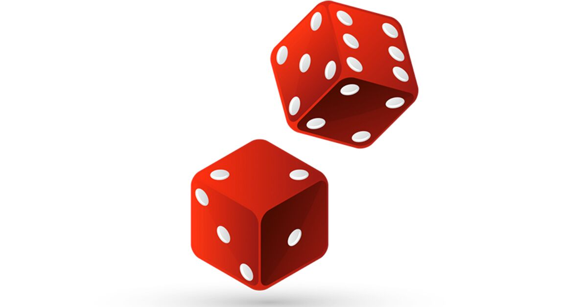 A pair of red dice with white spots