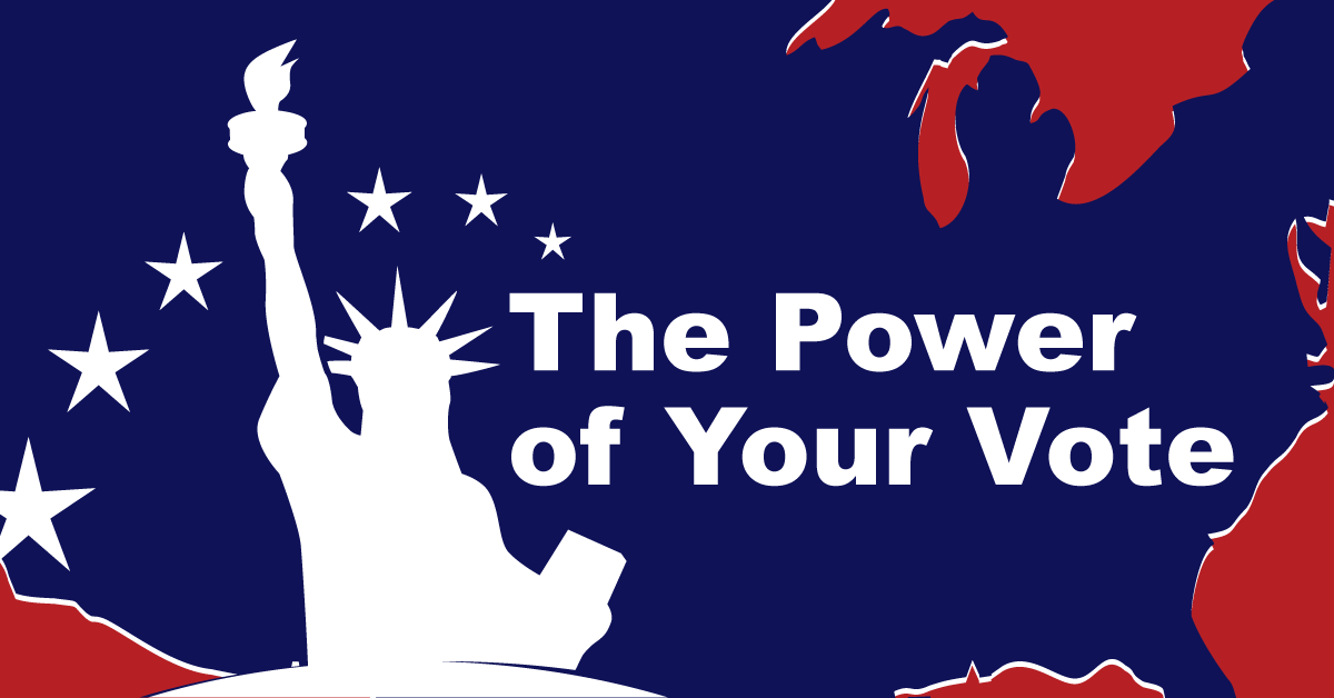 "Title reads, ""The power of your vote"". Navy blue Continental United States provides the background for all text. White bust of the Statue of Liberty sits atop of Idaho, in the Pacific Northwest. Six stars make an arch over Lady Liberty. A red background is the base for the graphic."