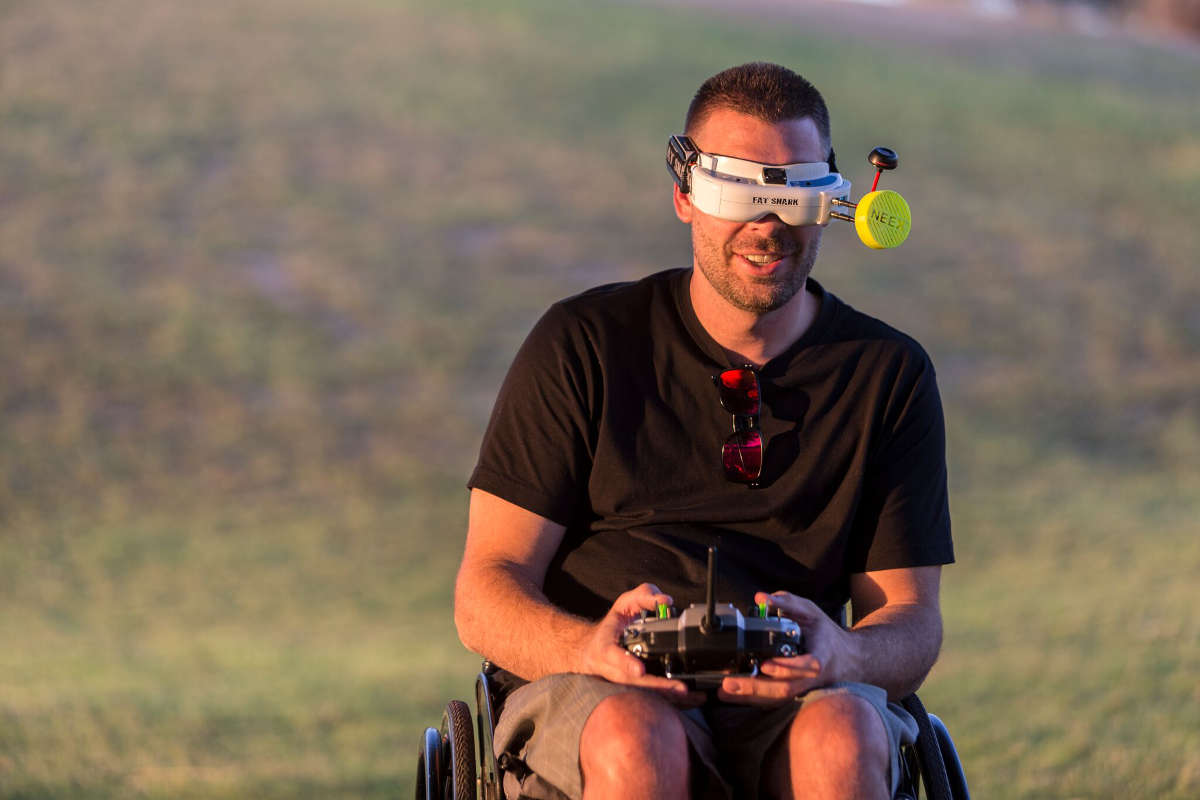 Drone hobbyist Jim Boomer wears a special visor that allows him to see through his drone's camera
