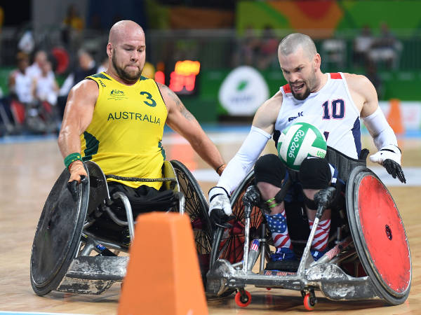 Wheelchair Rugby silver medalist Josh Wheeler competes with an Australian challenger