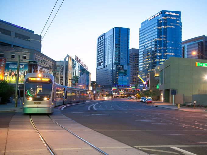 A shot of the Phoenix light rail in downtown Phoenix