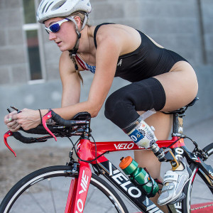 Paralympian Allysa Seely sits on her bike