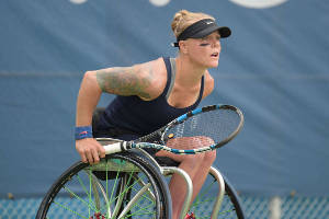 Paralympian Kaitlynn Verfuerth plays wheelchair tennis