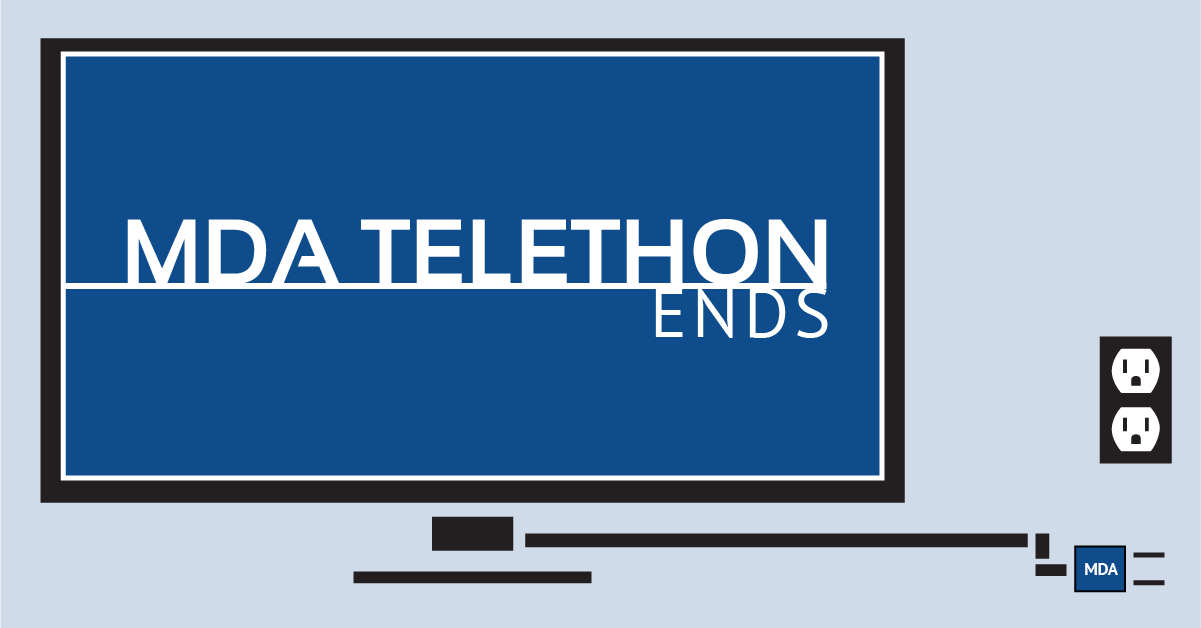 "An unplugged television with the words ""MDA Telethon Ends"" on the screen"