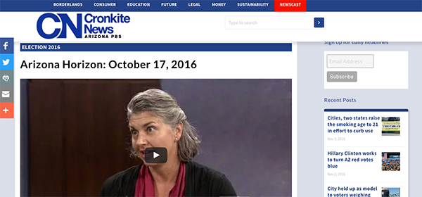 Screenshot of story on Cronkite News of Amina Donna Kruck talking about the political engagement of Americans with Disabilites.
