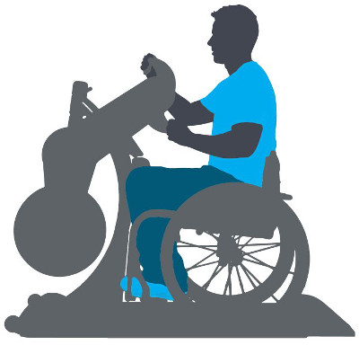 A graphic with the silhouette of a man exercising in a wheelchair. His clothes are highlighted in shades of blue.