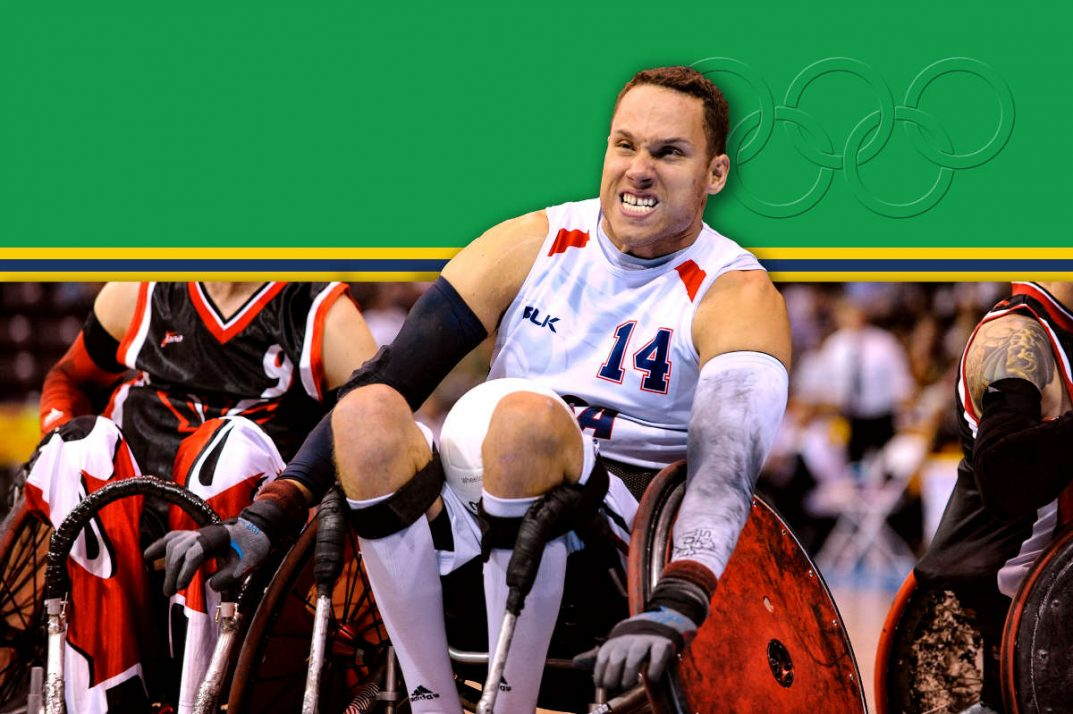 Paralympian hopeful Joe Delegrave plays wheelchair rugby.