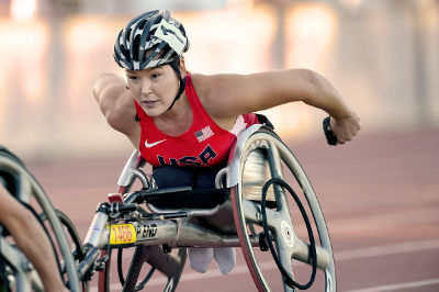 Paralympian hopeful Shirley Reilly participates in a wheelchair race.