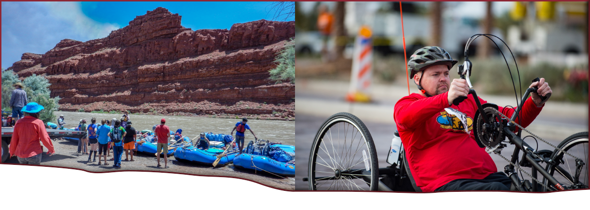PHOTOS: On the left, red rock mountains rise in the background against a bright blue sky. In the middle ground is a river. In the foreground are 6 blue inflatable river rafts being loaded with camping gear by a group of people of mixed ages, gender and ethnicity. One raft holds an empty wheelchair. On the right, a bearded man wearing a long sleeved red shirt and grey bicycle helmet is cranking a handcycle.
