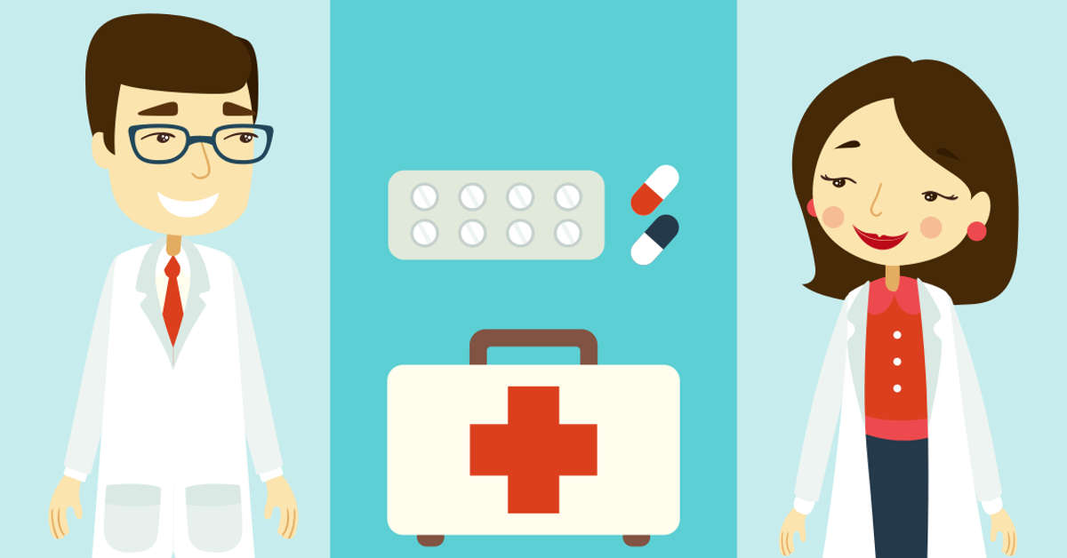llustration: A man and a woman wearing lab coats stand on either side of a tray of pills and doctor's bag.