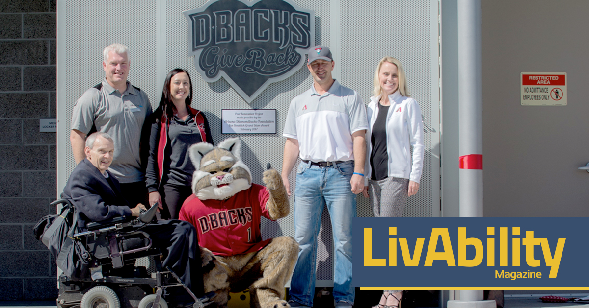 """Photo. Baxter the Bobcat, Diamondback's Mascot, sits in the lifeguard chair holding a lifeguard buoy. Beside Baxter are two people in Diamondbacks gear, smiling and interacting with Baxter. Logo. Large heart with the words """"Dbacks, Give Back"""" and a tiny logo of home plate."""