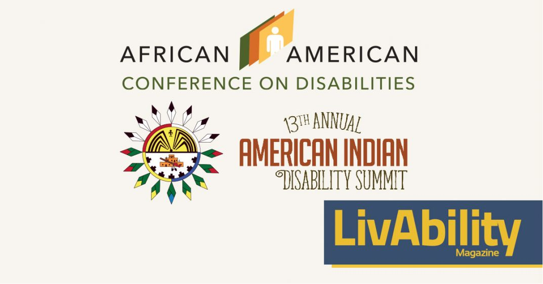 Logo. African American Conference on Disabilities. The logo shows three bands, one green, one red-ish, on orangey yellow with the icon of a human silhouette in the center. Logo. 13th Annual American Indian Disability Summit gathering native voices for youth empowerment. Shows a Man in the Maze drawing, what appears to be a dream catcher, and many feathers
