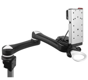 A Mount N Mover arm designed to attach to a power chair.