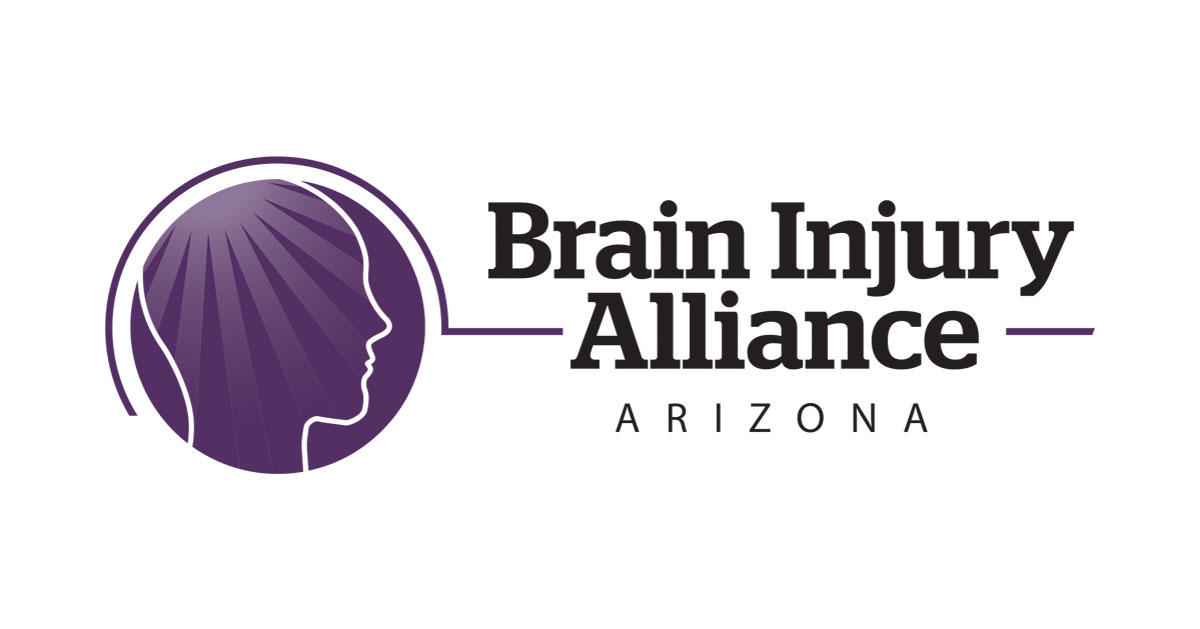 Logo for the Brain Injury Alliance of Arizona. Features a purple circle with a right-facing profile of a head inside.