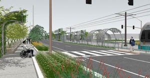 An artists rendering of the planned stop. A wheelchair user waits at a crosswalk leading toward a lighrail platform.