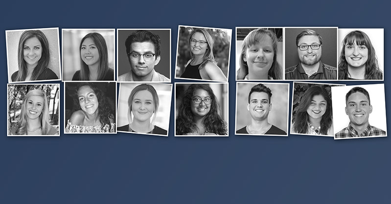 Photo shows a collage of black and white photos of 14 previous livability interns.