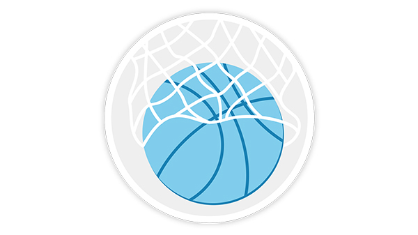 Blue basketball falls through a basketball net.