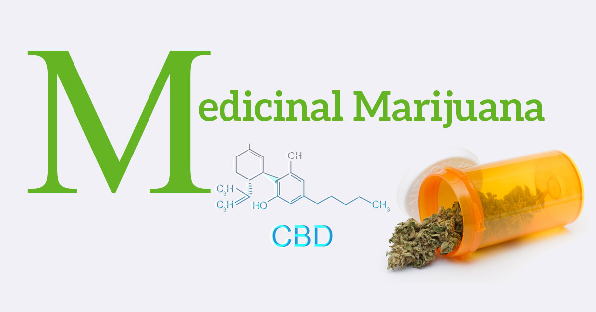 Medical Marijuana. There is a prescription bottle with marijuana leaves spilling out of it. There is a chemical representation of CBD.