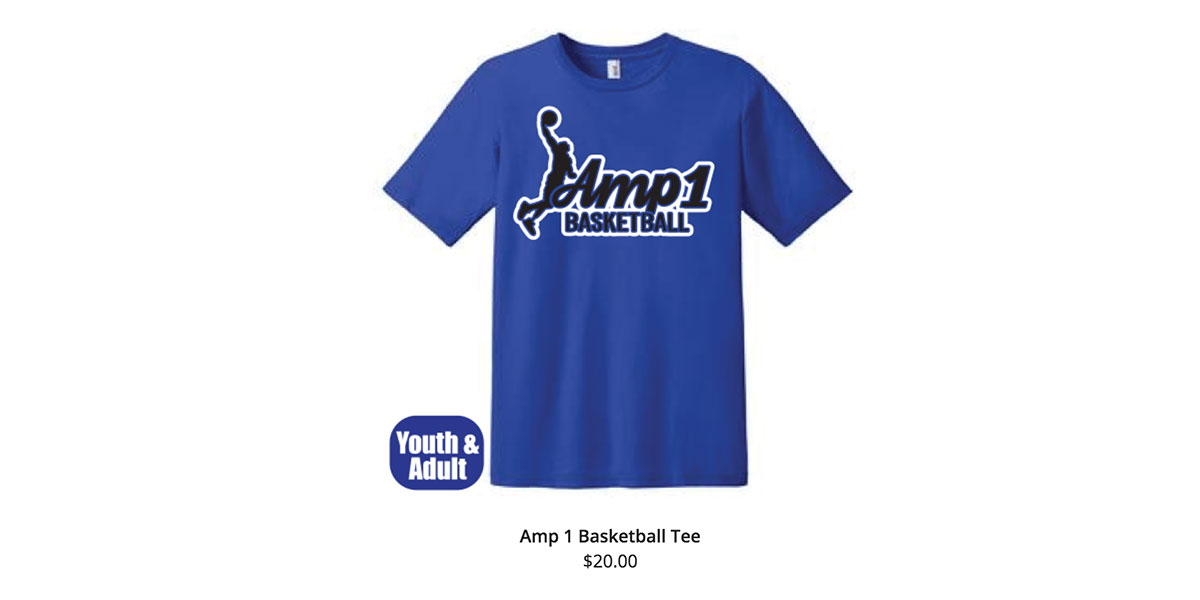 "Blue AMP1 Shirt showing basketball player dunking a basketball over words that say ""AMP1 Basketball"""