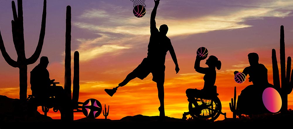 People participating in amputee basketball, wheelchair rugby, wheelchair rugby and wheelchair racing. They are silhouettes on a colorful desert background.