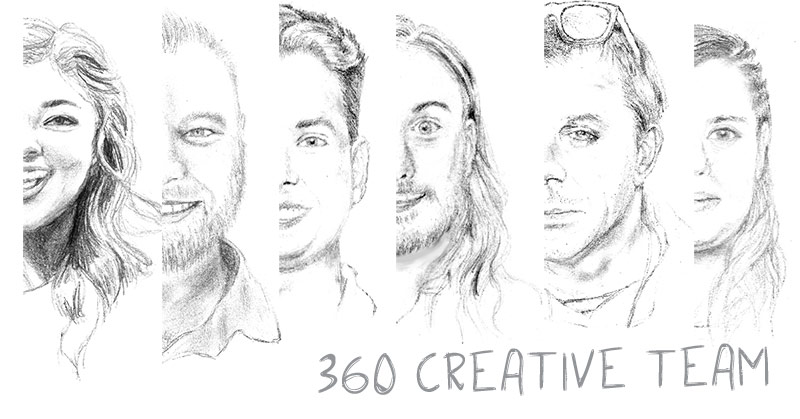 Half head-shot pencil sketches of the entire creative team line the page.