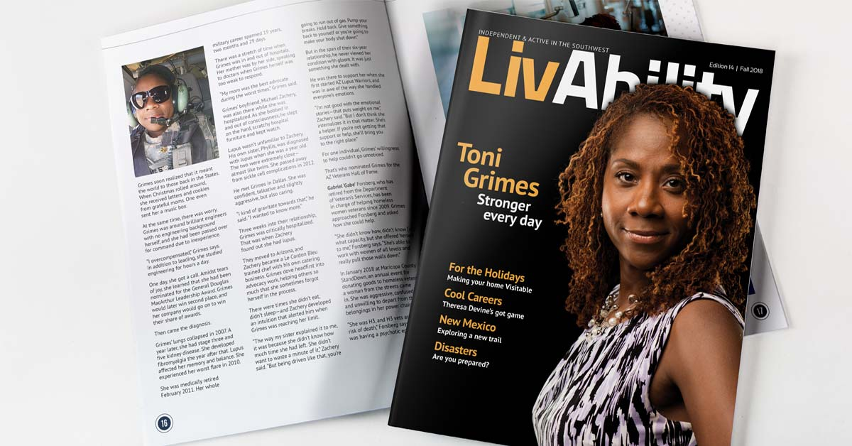 LivAbility Magazine Cover Photo: An African-American woman with curly hair that is chocolate in color with caramel highlights, a bright, warm smile, and inviting brown eyes stands facing the camera. She is wearing dress that has a print that almost resembles zebra. It is black, white and lavender in color. She is wearing a necklace that looks like it is made of pearls and silver balls.