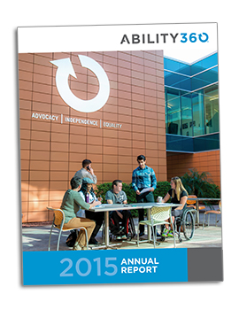 Cover of the Ability360 2015 Annual Report.