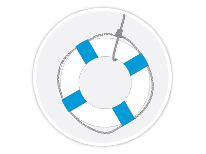 Lifesaver inside of a light gray circle