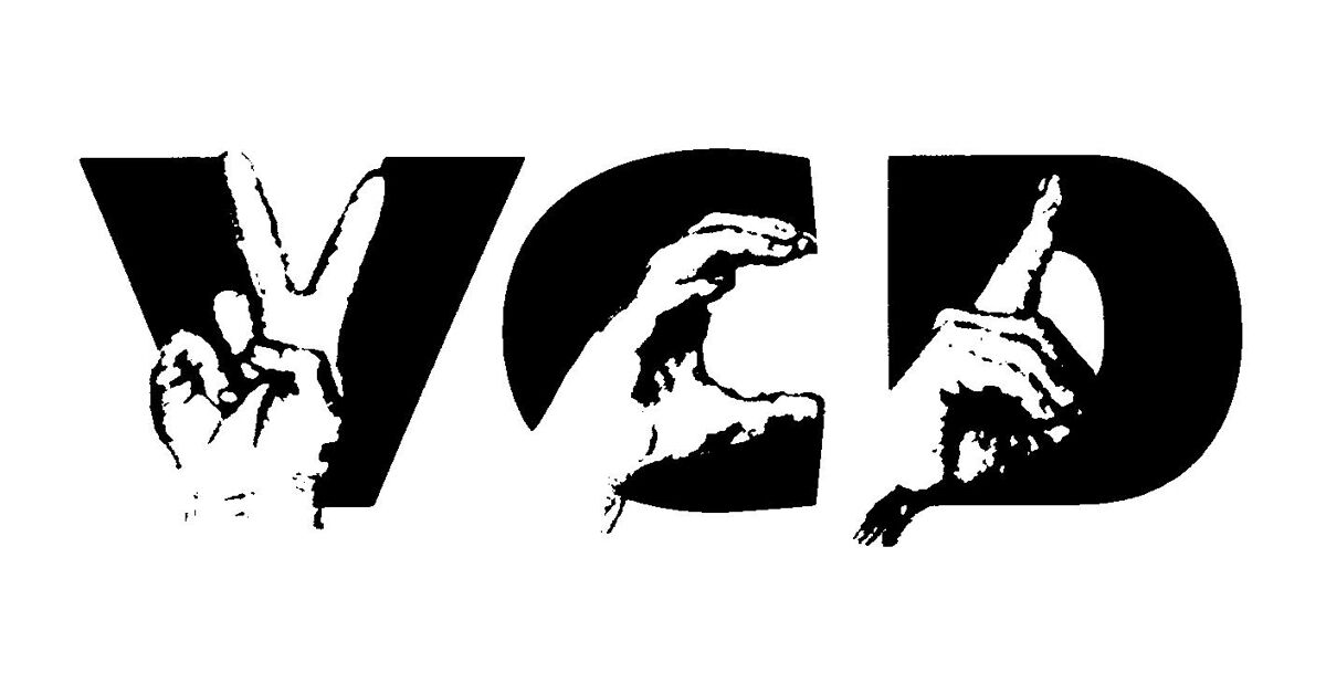 The VCD logo: The letters V, C and D with a hand in front of each letter making that letter in sign language.