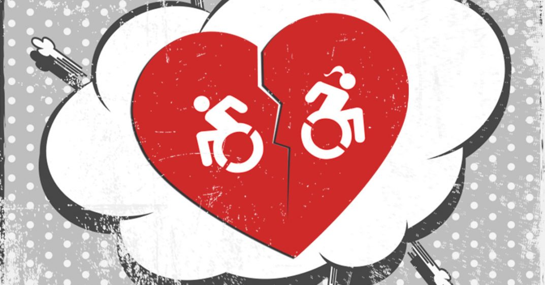 A red heart breaks in half as two wheelchair users move away from each other.