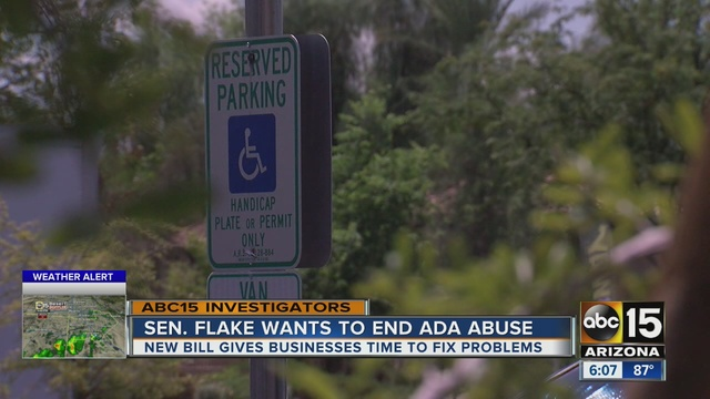 Screenshot of news segment on ABC15 about ADA lawsuits, shows reserved parking sign for people with disabilities.