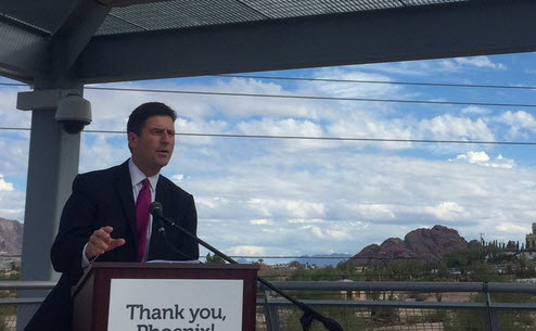 Phoenix Mayor Gren Stanton speaks to a crowd about the new light-rail station opening near Ability360.