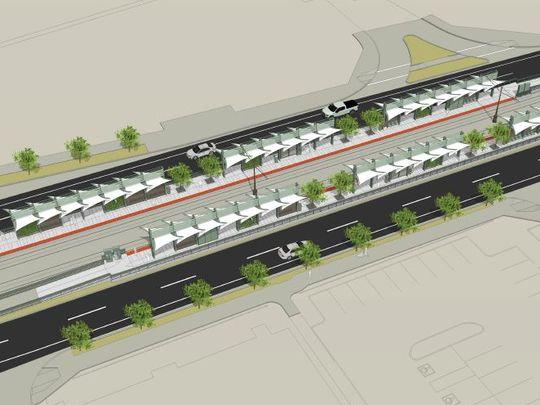 Birds-eye view of the plans for the new light rail station at 50th and Washington streets.