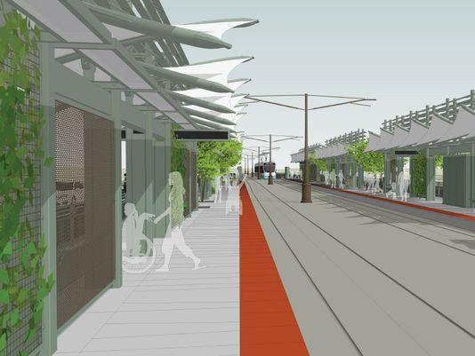 Plans for the new light rail station at 50th and Washington streets.