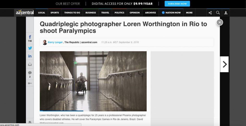 A screenshot of the AZ Republic story on Loren Worthington.