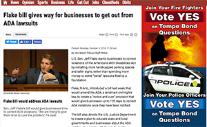 Screenshot of a story on the East Valley Tribune about Sen. Jeff Flake's allowance of businesses to get out of ADA lawsuits.