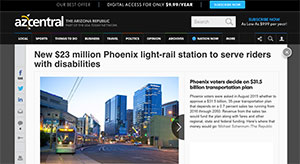 Screenshot of a story on azcentral.com about the new light-rail station.