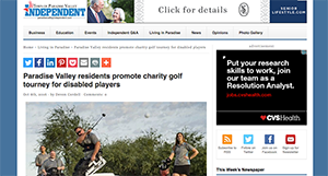 Screenshot of story on Paradise Valley Independent about 360 Charity Golf Tournament
