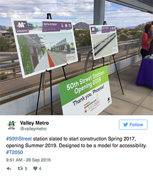 "An image of plans for the coming lightrail station. The accompanying tweet from Valley Metro reads ""#50thStreet station slated to start construction Spring 2017, opening Summer 2019. Designed to be a model for accessibility. #T2050"""