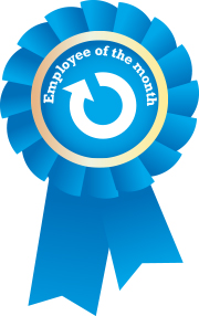 Employee of the Month Blue Ribbon with Ability360 logo simbol