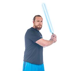 Nick Pryor with a lightsaber