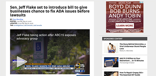 A screenshot of the original story from ABC.