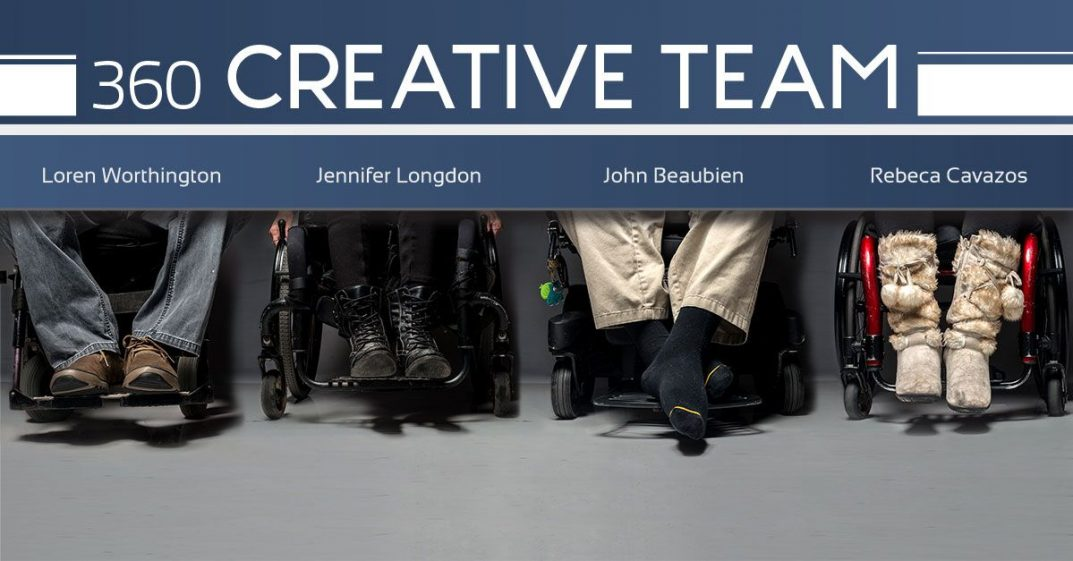 PHOTO: Loren Worthington is shown from the knees down. He wears blue jeans and brown suede shoes. The black frame of his wheelchair is visible. Jennifer Longdon is shown from the knees down, her fingertips rest on her wheel rims. She wears black pants and black lace-up work boots. The black frame of her wheelchair is visible. John Beaubien is shown from the knees down. He wears khaki pants and blacksocks. His feet are crossed. The black frame of his wheelchair is visible. Rebeca Cavazos is shown from the knees down. She wears black pants and high fawn-colored fur boots with matching crisscross laces and furry pompoms. The red frame of her wheelchair is visible.