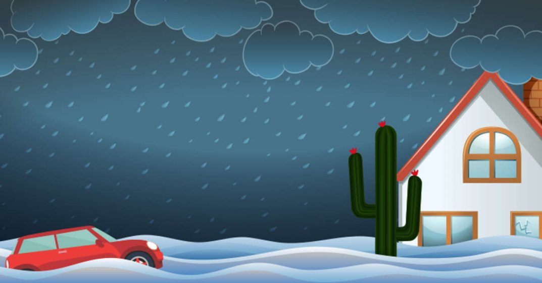 ILLUSTRATION: A dark stormy sky with high rising water and a red jeep appears to be caught in the water. There is also a cactus and an A-frame house.