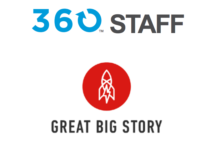 """ILLUSTRATION: The phrase """"360 Staff"""" above the phrase """"great big story."""" A stylized rocketship in a red circular background is between the two phrases."""