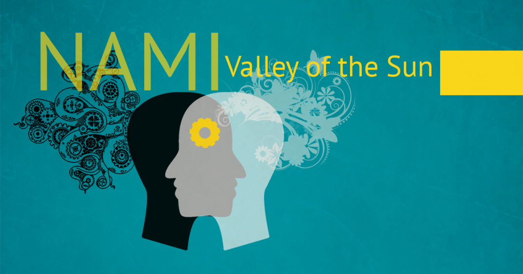 "Graphic: The words ""NAMI Valley of the Sun"" above two overlapping silhouettes of faces."